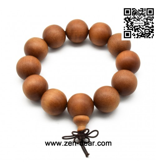 Zen Dear Unisex Teak Wood Prayer Beads Buddha Buddhist Beads Japa Mala Necklace Bracelet Beads (20mm 12 beads)