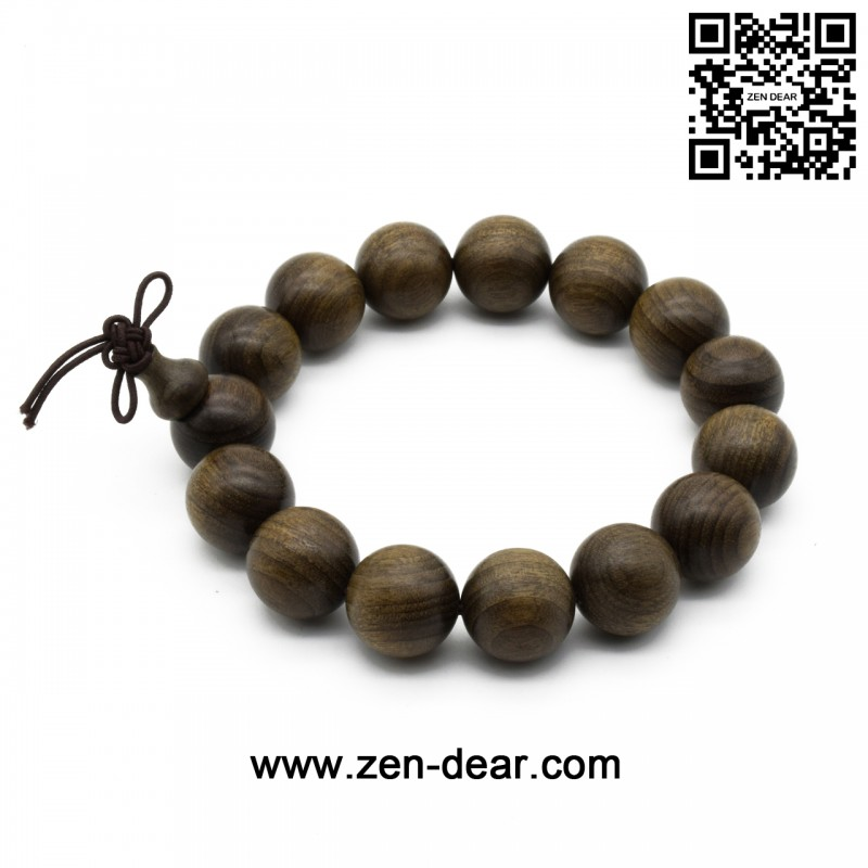 Zen Dear Unisex Burried Ebony Prayer Beads Buddha Buddhist Prayer Beads Meditation Mala Necklace Bracelet (15mm 15 beads)