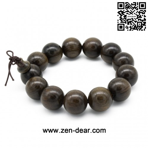 Zen Dear Unisex Burried Ebony Prayer Beads Buddha Buddhist Prayer Beads Meditation Mala Necklace Bracelet (18mm 13 beads)