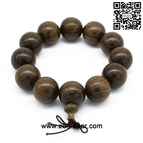 Zen Dear Unisex Burried Ebony Prayer Beads Buddha Buddhist Prayer Beads Meditation Mala Necklace Bracelet (20mm 12 beads)