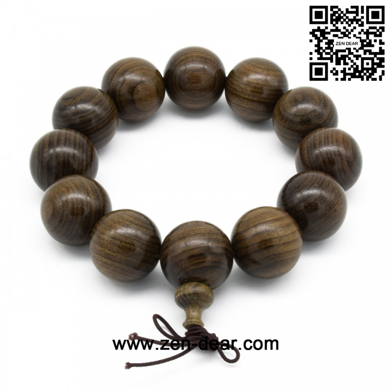 Zen Dear Uni Burried Ebony Prayer Beads Buddha Buddhist Meditation Mala Necklace Bracelet 20mm