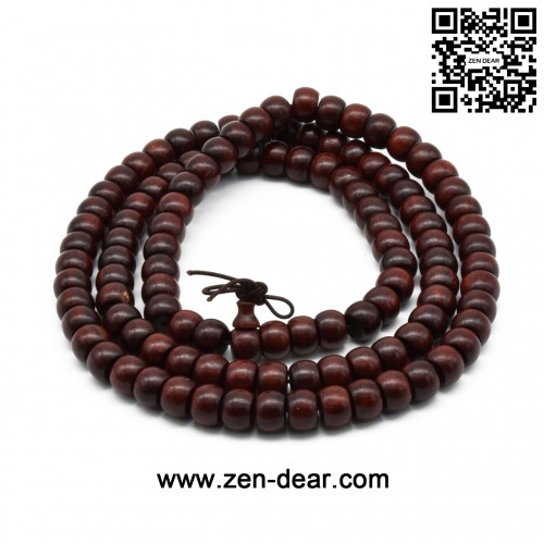 Zen Dear Unisex Natural African Blood Red Sandalwood Prayer Beads Tibetan Buddhism Mala Bracelet Necklace (6mm x 8mm x 108 Beads)
