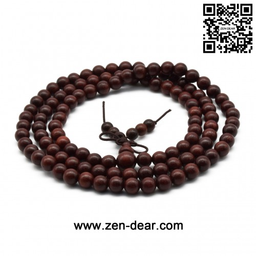 Zen Dear Unisex Natural African Blood Red Sandalwood Prayer Beads Tibetan Buddhism Mala Bracelet Necklace (6mm x 108 Beads)
