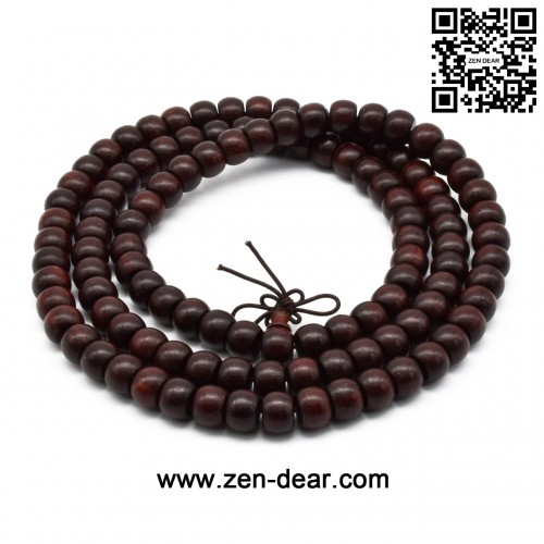 Zen Dear Unisex Natural African Blood Red Sandalwood Prayer Beads Tibetan Buddhism Mala Bracelet Necklace (7mm x 9mm x 108 Beads)
