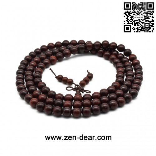 Zen Dear Unisex Natural African Blood Red Sandalwood Prayer Beads Tibetan Buddhism Mala Bracelet Necklace (8mm x 108 Beads)