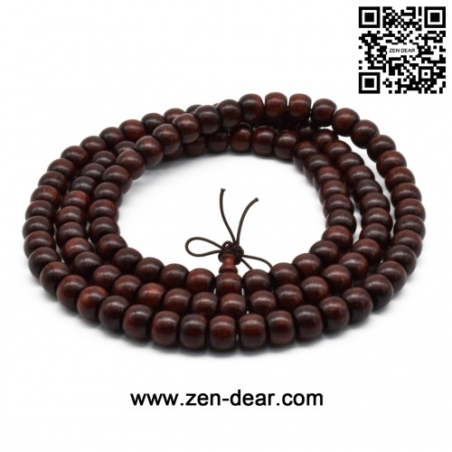 Zen Dear Unisex Natural African Blood Red Sandalwood Prayer Beads Tibetan Buddhism Mala Bracelet Necklace (8mm x 10mm x 108 Beads)