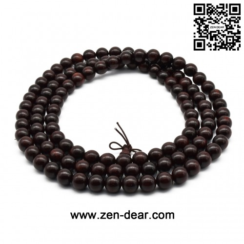 Zen Dear Unisex Natural African Blood Red Sandalwood Prayer Beads Tibetan Buddhism Mala Bracelet Necklace (10mm 108 Beads)