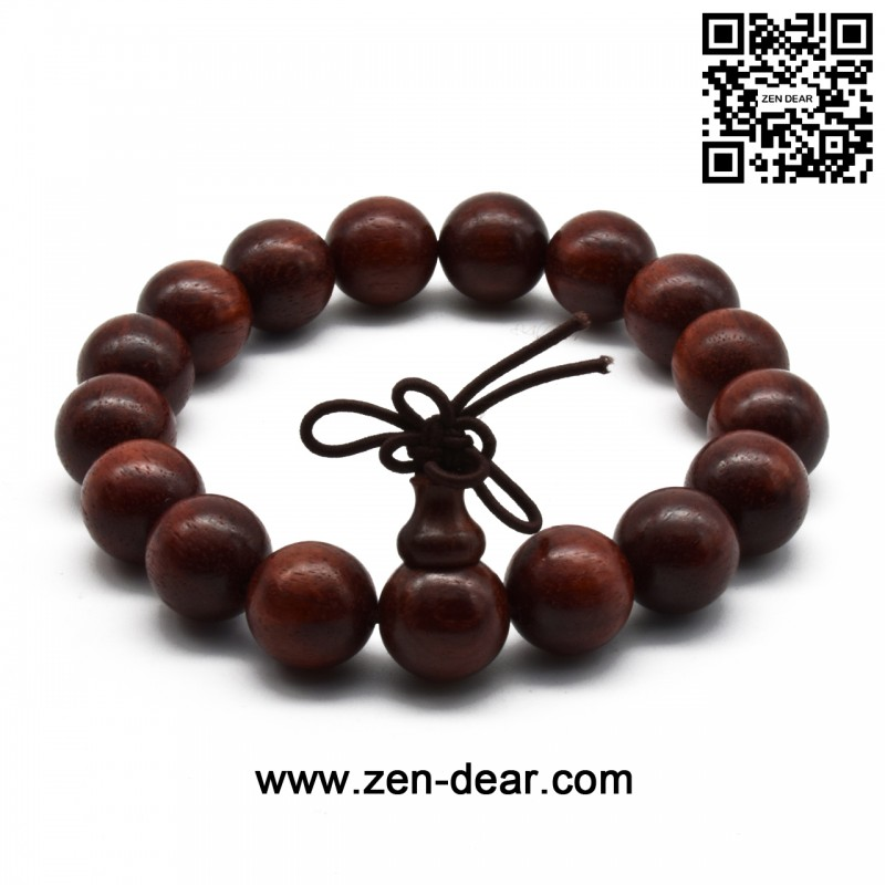 Zen Dear Unisex Natural African Blood Red Sandalwood Prayer Beads Tibetan Buddhism Mala Bracelet Necklace (12mm x 17 Beads)