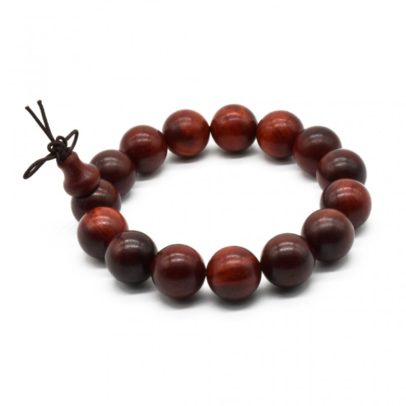 Zen Dear Unisex Natural African Blood Red Sandalwood Prayer Beads Tibetan Buddhism Mala Bracelet Necklace (15mm x 15 Beads)