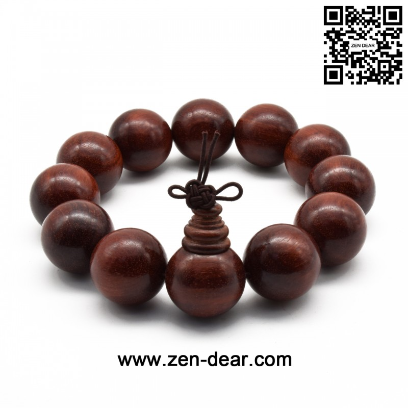 Zen Dear Uni Natural African Blood Red Sandalwood Prayer Beads Tibetan Buddhism Mala Bracelet Necklace 22mm
