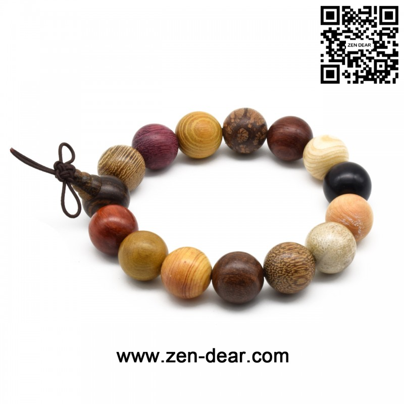 Zen Dear Unisex Natural Colorful Wood Buddhist Prayer Beads Bracelet Necklace Tibetan Mala Prayer Beads (15mm 15beads) - Men Fashion Jewelry  - Zen Dear Jewelry Store