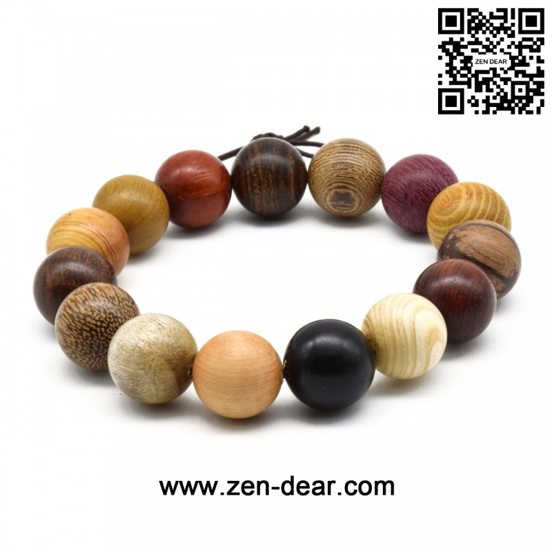 Zen Dear Uni Natural Colorful Wood Buddhist Prayer Beads Bracelet Necklace Tibetan Mala 15mm