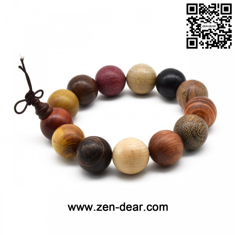 Zen Dear Uni Natural Colorful Wood Buddhist Prayer Beads Bracelet Necklace Tibetan Mala 18mm