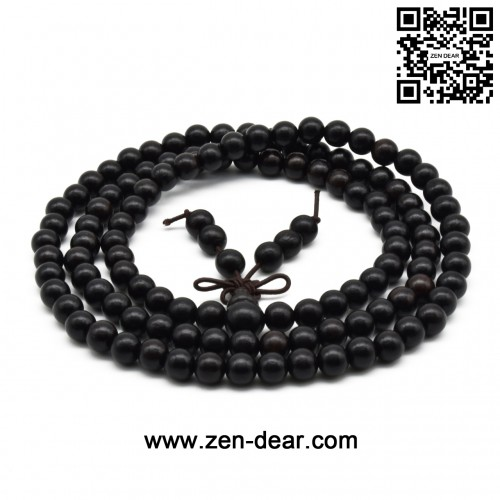 Zen Dear Unisex Natural Ebony Wood Buddhist Prayer Bead Necklace Bracelet Tibetan Prayer Mala Beaded Black (06mm 108beads)