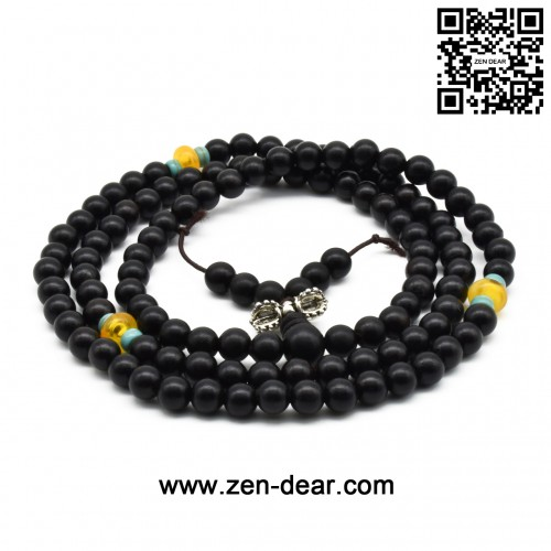 Zen Dear Unisex Natural Ebony Wood Buddhist Prayer Bead Necklace Bracelet Tibetan Prayer Mala Beaded Black (06mm 108beads special)