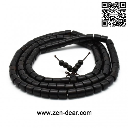 Zen Dear Unisex Natural Ebony Wood Buddhist Prayer Bead Necklace Bracelet Tibetan Prayer Mala Beaded Black (08mm 108 barrel beads)