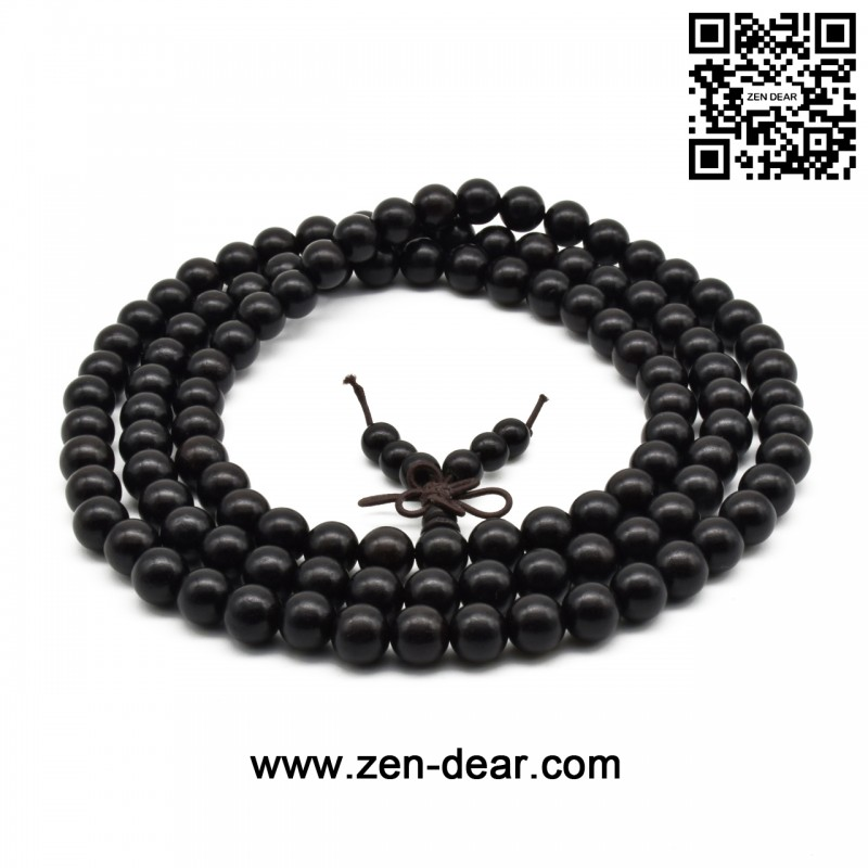 Zen Dear Unisex Natural Ebony Wood Buddhist Prayer Bead Necklace Bracelet Tibetan Prayer Mala Beaded Black (08mm 108beads) - Men Fashion Jewelry  - Zen Dear Jewelry Store