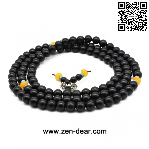Zen Dear Unisex Natural Ebony Wood Buddhist Prayer Bead Necklace Bracelet Tibetan Prayer Mala Beaded Black (08mm 108beads special)