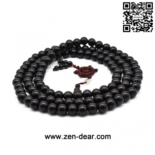 Zen Dear Unisex Natural Ebony Wood Buddhist Prayer Bead Necklace Bracelet Tibetan Prayer Mala Beaded Black (10mm 108beads)
