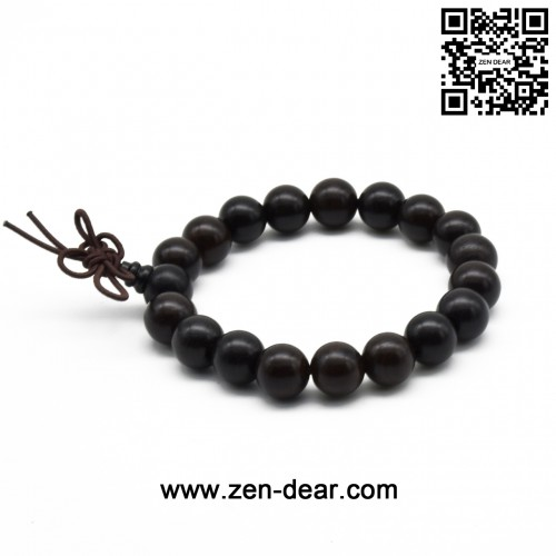 Zen Dear Unisex Natural Ebony Wood Buddhist Prayer Bead Necklace Bracelet Tibetan Prayer Mala Beaded Black (10mm 19beads)