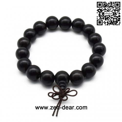 Zen Dear Unisex Natural Ebony Wood Buddhist Prayer Bead Necklace Bracelet Tibetan Prayer Mala Beaded Black (12mm 17beads)