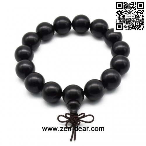 Zen Dear Unisex Natural Ebony Wood Buddhist Prayer Bead Necklace Bracelet Tibetan Prayer Mala Beaded Black (15mm 15beads)