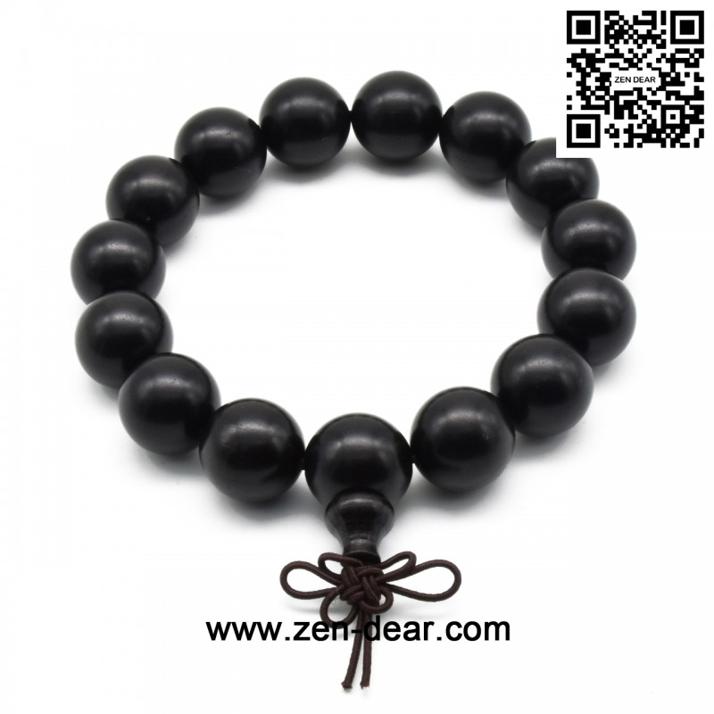 Zen Dear Uni Natural Ebony Wood Buddhist Prayer Bead Necklace Bracelet Tibetan Mala Beaded Black