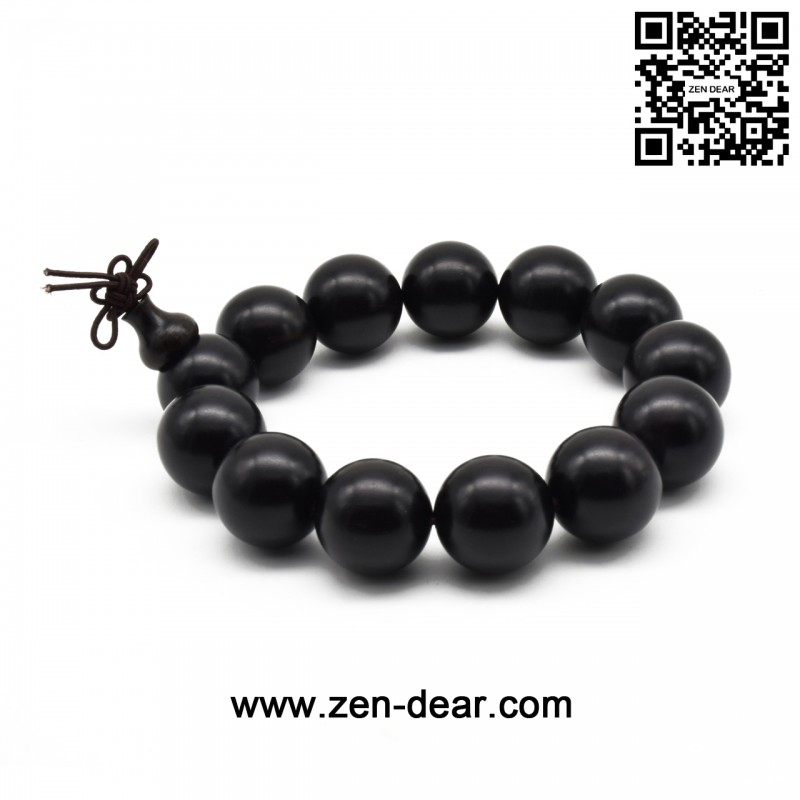 Zen Dear Unisex Natural Ebony Wood Buddhist Prayer Bead Necklace Bracelet Tibetan Prayer Mala Beaded Black (18mm 13beads) - Men Fashion Jewelry  - Zen Dear Jewelry Store