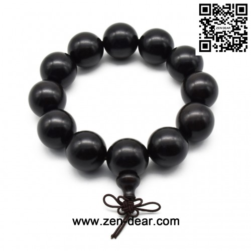 Zen Dear Unisex Natural Ebony Wood Buddhist Prayer Bead Necklace Bracelet Tibetan Prayer Mala Beaded Black (20mm 12beads)