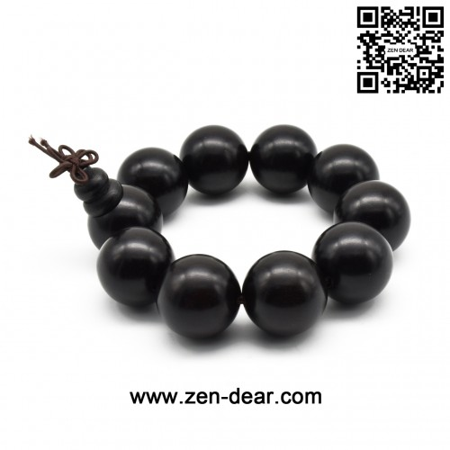Zen Dear Unisex Natural Ebony Wood Buddhist Prayer Bead Necklace Bracelet Tibetan Prayer Mala Beaded Black (25mm 10beads)