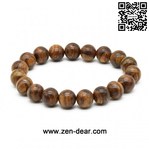 Zen Dear Unisex Natural Qinan Agarwood Prayer Beads Tibetan Buddhism Mala Bracelet Necklace Beads (10mm x 19 Beads)
