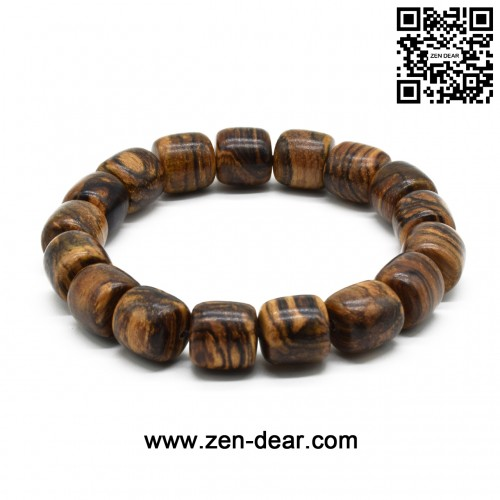 Zen Dear Unisex Natural Qinan Agarwood Prayer Beads Tibetan Buddhism Mala Bracelet Necklace Beads (12mm Cylinder x 17 Beads)