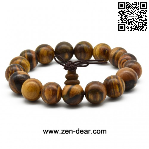 Zen Dear Unisex Natural Qinan Agarwood Prayer Beads Tibetan Buddhism Mala Bracelet Necklace Beads (12mm x 17 Beads)