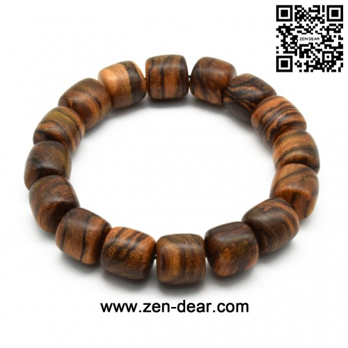 Zen Dear Unisex Natural Qinan Agarwood Prayer Beads Tibetan Buddhism Mala Bracelet Necklace Beads (13mm Cylinder x 16 Beads)