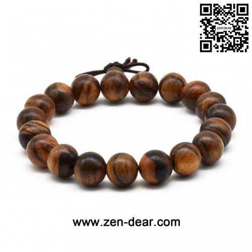 Zen Dear Unisex Natural Qinan Agarwood Prayer Beads Tibetan Buddhism Mala Bracelet Necklace Beads (15mm x 15 Beads)