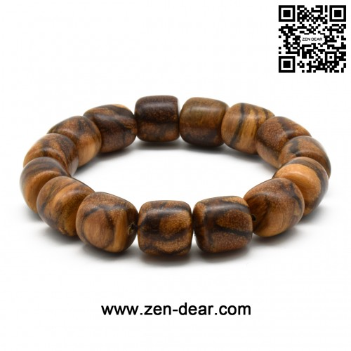 Zen Dear Unisex Natural Qinan Agarwood Prayer Beads Tibetan Buddhism Mala Bracelet Necklace Beads (15mm Cylinder x 15 Beads)