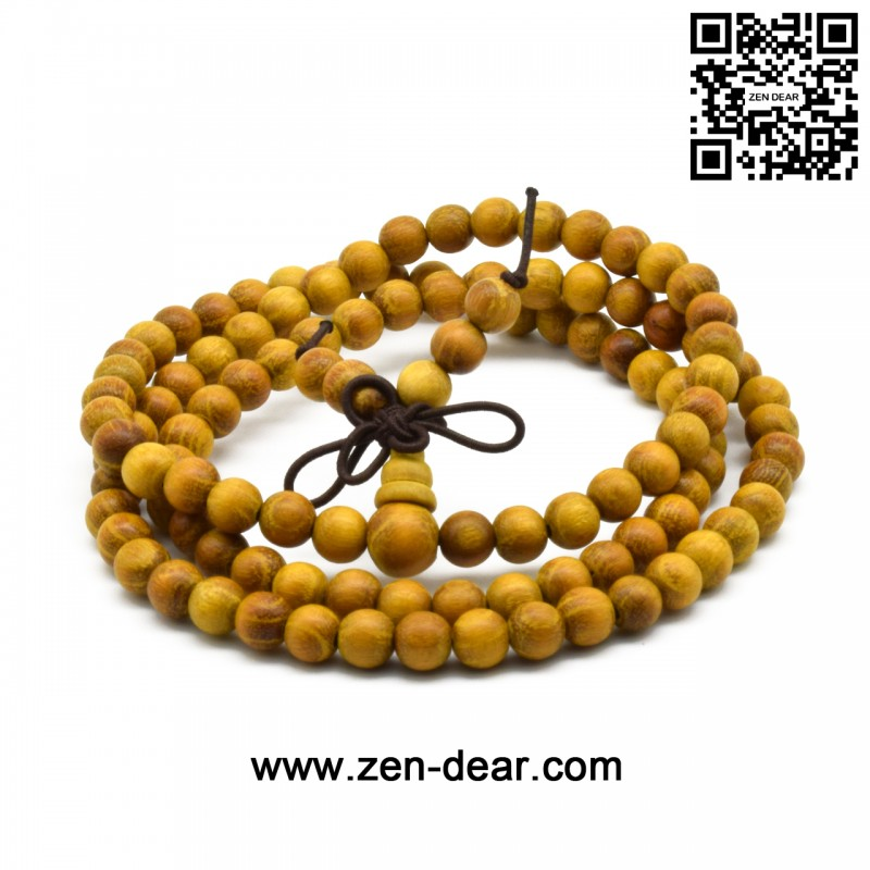 Zen Dear Natural Golden Sandalwood Mexican Bocote Mala Prayer Bracelet Link Wrist Necklace Beads (6mm 108 beads)