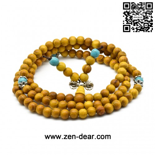 Zen Dear Natural Golden Sandalwood Mexican Bocote Mala Prayer Bracelet Link Wrist Necklace Beads (6mm 108 beads special)