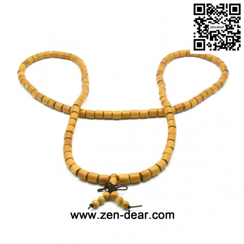 Zen Dear Natural Golden Sandalwood Mexican Bocote Mala Prayer Bracelet Link Wrist Necklace Beads (08mm 108 barrel)