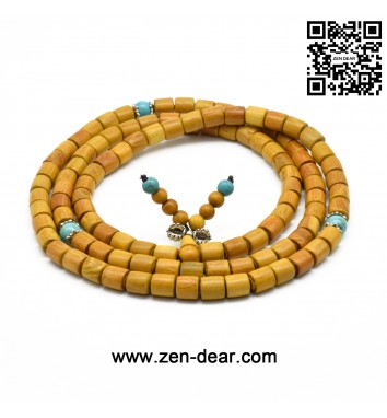 Zen Dear Natural Golden Sandalwood Mexican Bocote Mala Prayer Bracelet Link Wrist Necklace Beads (08mm 108 barrel special)