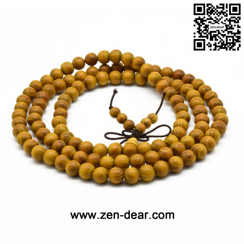 Zen Dear Unisex Natural Golden Sandalwood Mexican Bocote Wood Mala Prayer Bracelet Link Wrist Necklace Chain Beads (8mm 108 beads)