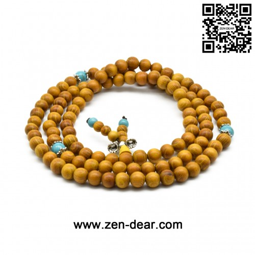 Zen Dear Natural Golden Sandalwood Mexican Bocote Mala Prayer Bracelet Link Wrist Necklace Beads (8mm 108 beads special)