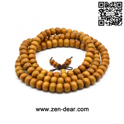 Zen Dear Unisex Natural Golden Sandalwood Mexican Bocote Wood Mala Prayer Bracelet Link Wrist Necklace Chain Beads (7mm x 8mm 108 beads)
