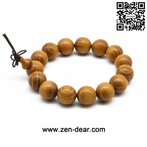 Zen Dear Unisex Natural Golden Sandalwood Mexican Bocote Wood Mala Prayer Bracelet Link Wrist Necklace Chain Beads (12mm 17 beads)