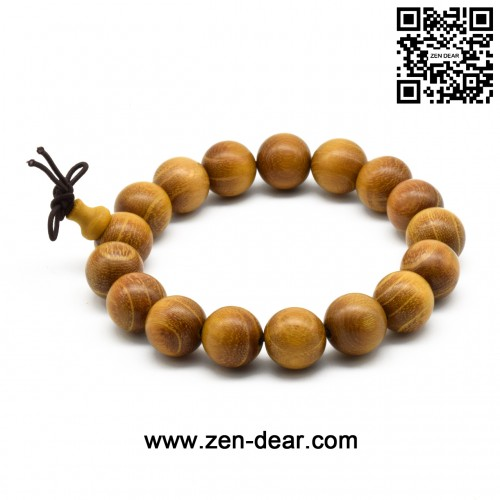Zen Dear Unisex Natural Golden Sandalwood Mexican Bocote Wood Mala Prayer Bracelet Link Wrist Necklace Chain Beads (15mm 15 beads)