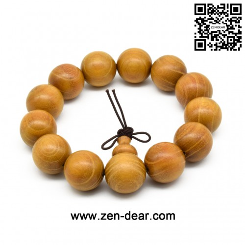 Zen Dear Unisex Natural Golden Sandalwood Mexican Bocote Wood Mala Prayer Bracelet Link Wrist Necklace Chain Beads (18mm 13 beads)