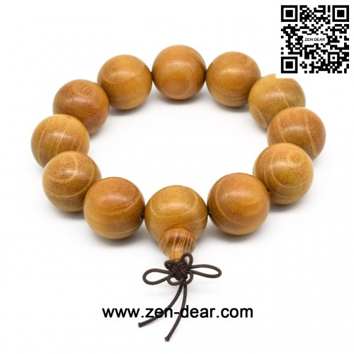 Zen Dear Unisex Natural Golden Sandalwood Mexican Bocote Wood Mala Prayer Bracelet Link Wrist Necklace Chain Beads (20mm 12 beads)