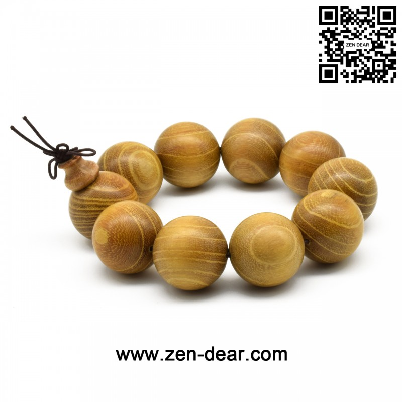 Zen Dear Natural Golden Sandalwood Mexican Bocote Mala Prayer Bracelet Link Wrist Necklace Beads (25mm 10 beads) - Men Fashion Jewelry  - Zen Dear Jewelry Store