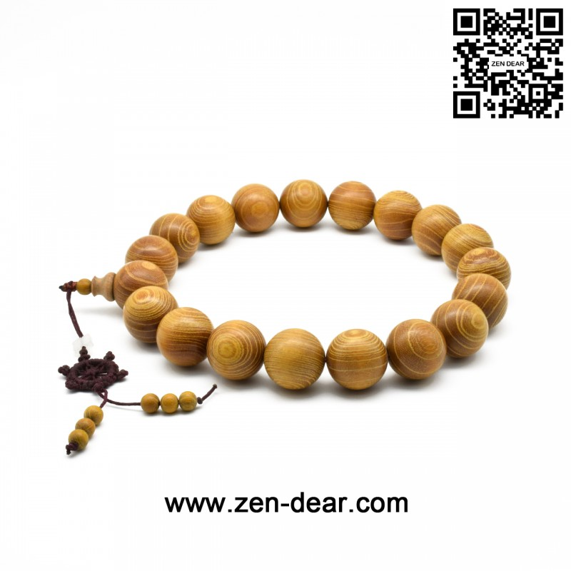 Zen Dear Natural Golden Sandalwood Mexican Bocote Mala Prayer Bracelet Link Wrist Necklace Beads (25mm 19 beads) - Men Fashion Jewelry  - Zen Dear Jewelry Store