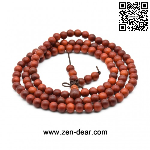 Zen Dear Unisex Natural Blood Dragon Wood Buddhist Prayer Beads Bracelet Necklace Red Agathis King of Wood Mala Beads (6mm x 108 Beads)